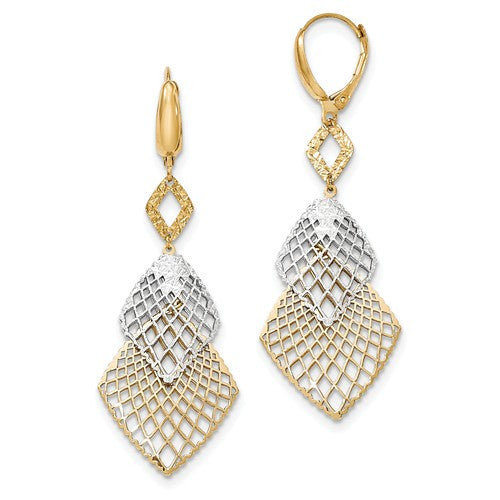 14K Two-Tone Polished And Diamond-Cut Leverback Earrings - Crestwood Jewelers