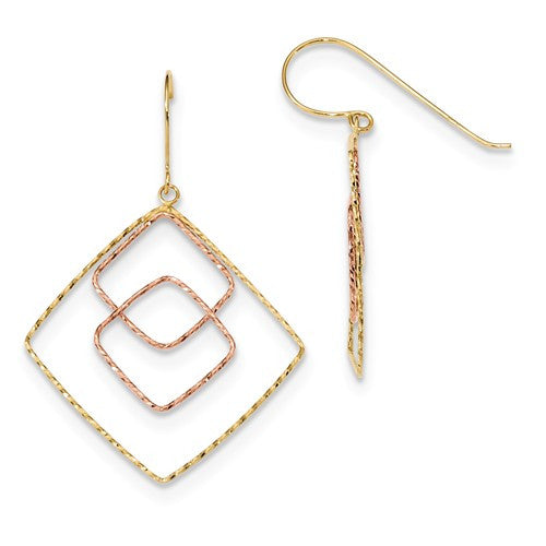 14k Yellow And Rose D/C Graduated Square Shepherd Hook Earrings - Crestwood Jewelers