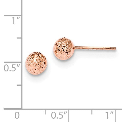 14k Rose Gold 6mm Diamond-Cut Ball Post Earrings - Crestwood Jewelers