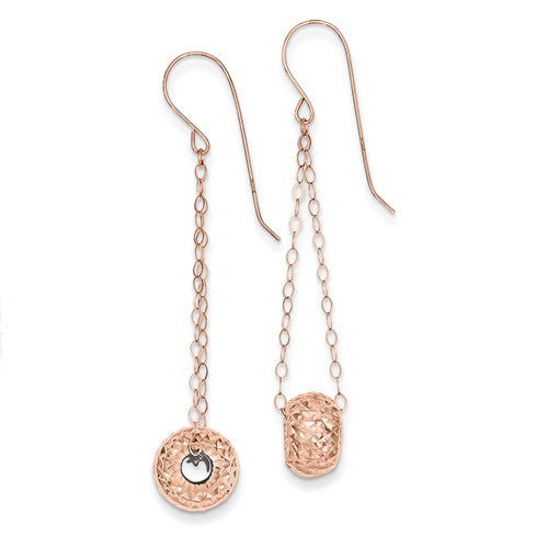 14K Rose Gold Chain With Diamond-Cut Puff Donut Bead Earrings - Crestwood Jewelers