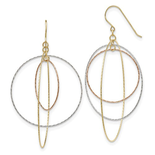 14k Tri-Color D/C Graduated Circles Shepherd Hook Earrings - Crestwood Jewelers
