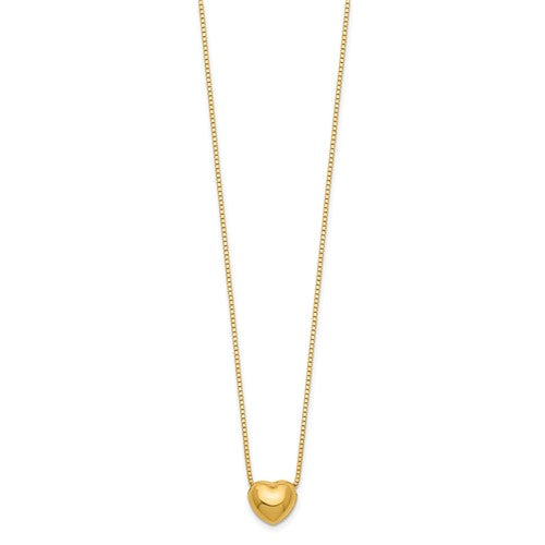 "14k 16"" Chain With Heart Charm Necklace - Crestwood Jewelers"