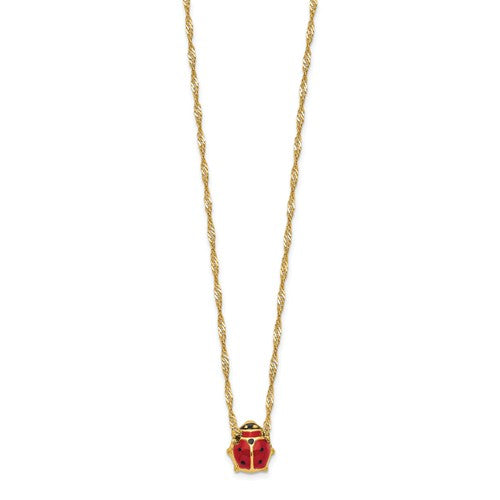 14k Enameled Ladybug Necklace - Crestwood Jewelers