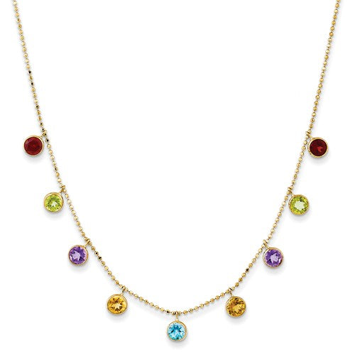 14K Multi-Color Gemstone Necklace With 2in Ext. - Crestwood Jewelers