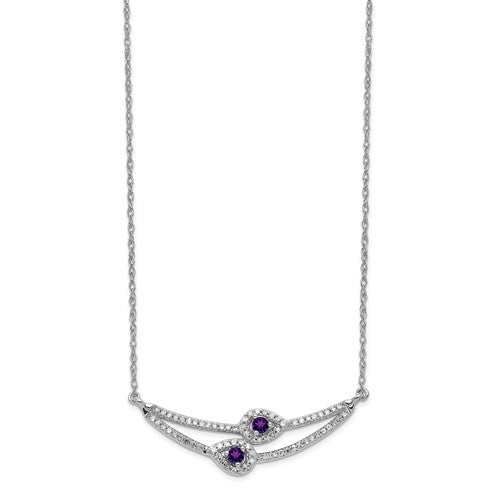 14k White Gold Diamond And Amethyst Necklace
