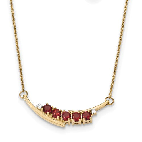 14K Gold With Mozambique Garnet And Diamond Necklace