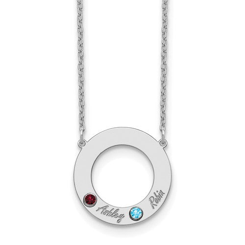 Sterling Silver 2 Name Cutout Circle Necklace With Birthstones - Crestwood Jewelers