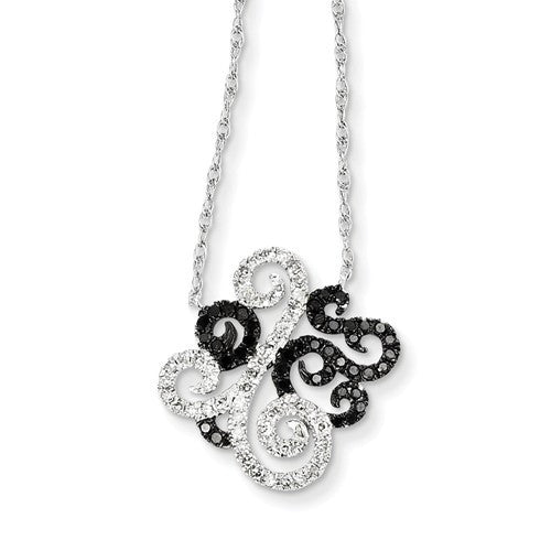 14k White Gold W/ Black And White Diamond Fancy Pendant - Crestwood Jewelers