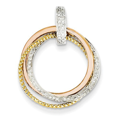 14k Tri-Color Gold Diamond Moveable Circle Pendant - Crestwood Jewelers