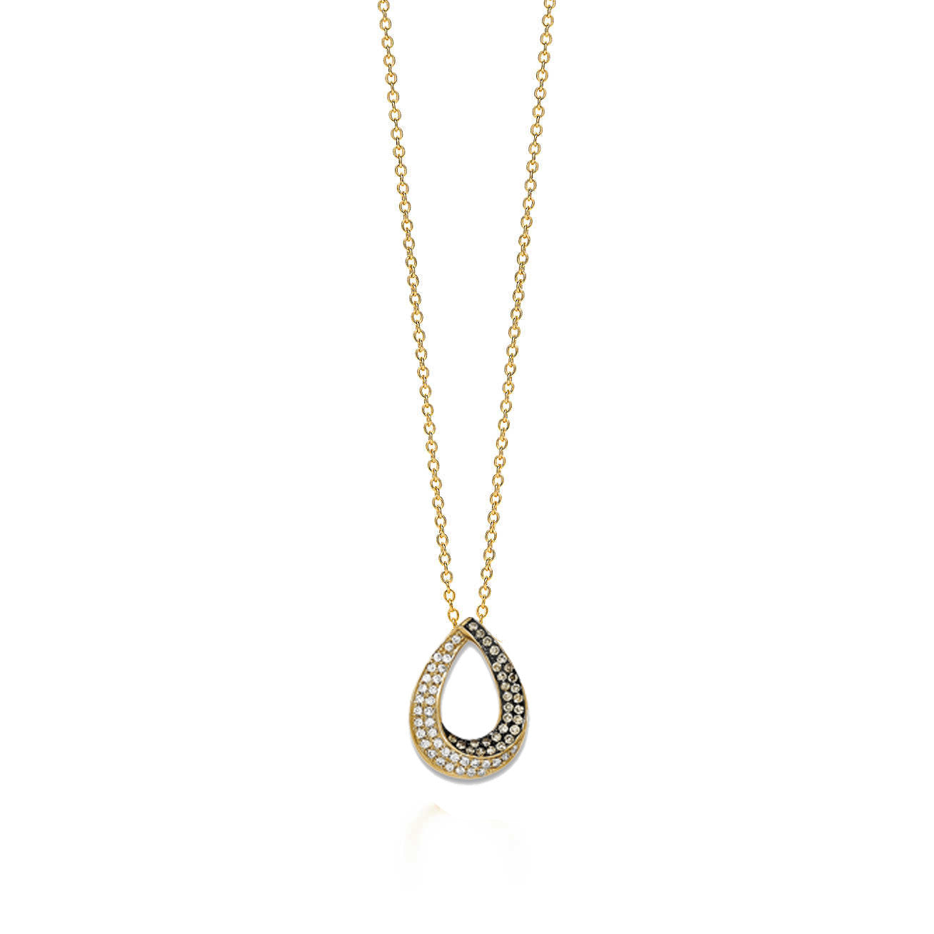 14KY Pave Champagne/White Diamond Teardrop Necklace - Crestwood Jewelers