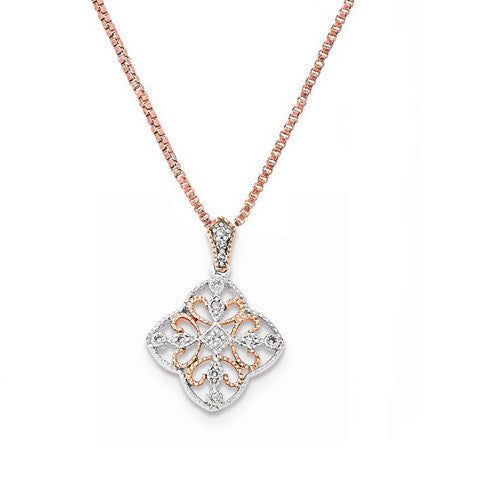 14K White Gold & Rose Rhodium Diamond Necklace