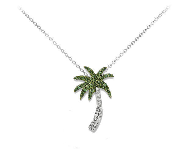 14k White Gold With White And Green Diamond Palm Tree Necklace