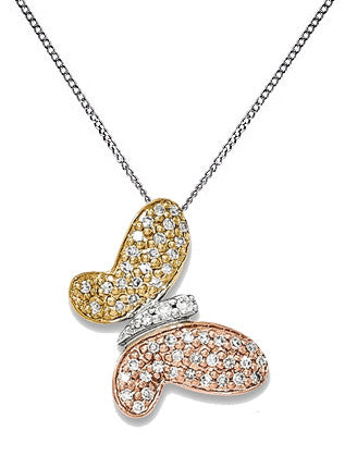 14K Tri Color Pave Diamond Butterfly Necklace