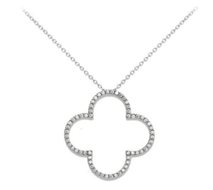 14kw Medium Diamond Quatrefoil Design Necklace - Crestwood Jewelers