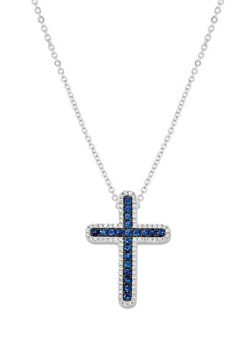14k White Gold Diamond And Sapphire Cross