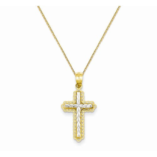 14k Rhodium Diamond Cut Cross Pendant - Crestwood Jewelers