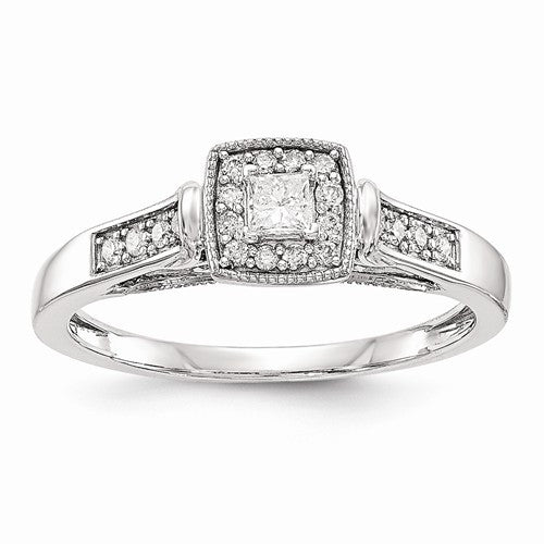 Princessa 14k White Gold Diamond Engagement Ring - Crestwood Jewelers