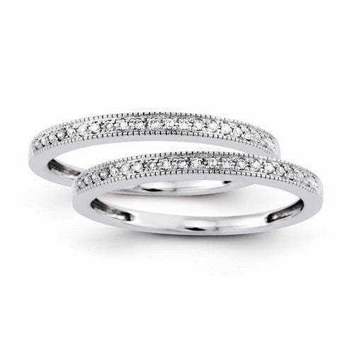 14k White Gold Set Of 2 Diamond Wedding Bands