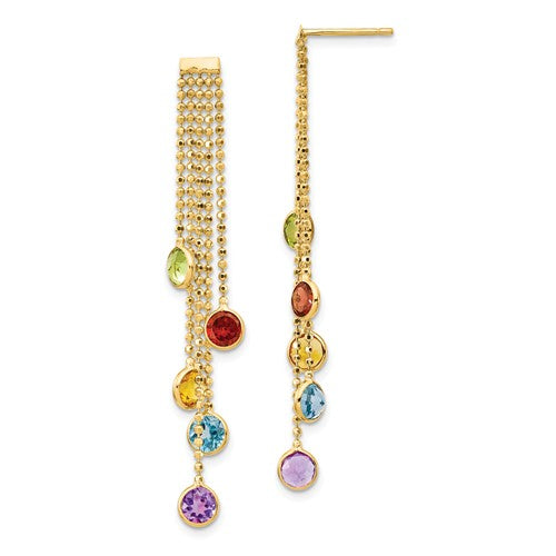 14k Multi-Colored Gemstone Dangle Earrings
