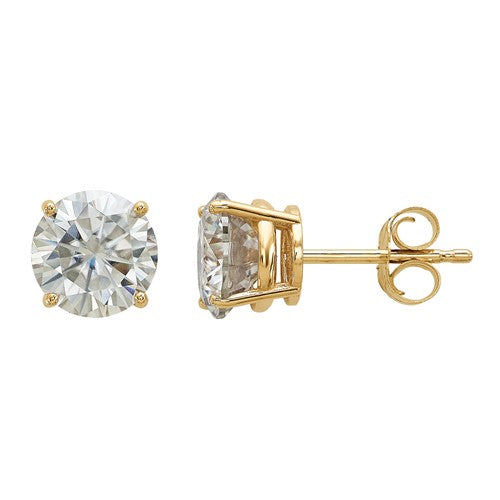 14K 2.00ct. 6.5mm Round Moissanite 4-Prong Basket Post Earring - Crestwood Jewelers