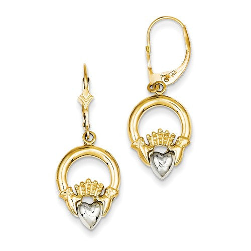 14k Two-Tone Claddagh Leverback Earrings - Crestwood Jewelers