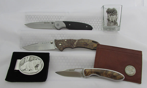 Cool groomsman gifts including Buck knives, money clips, wallets, and shot glasses.