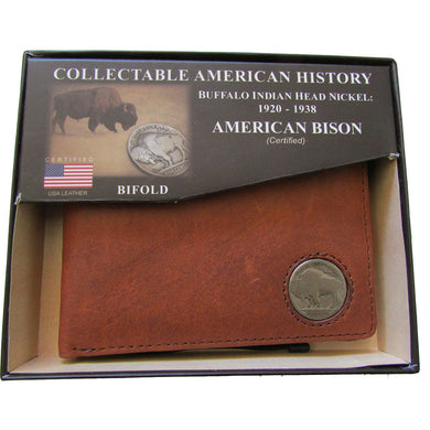 American Bison Bifold Buffalo Nickel Wallet Brown Kingport