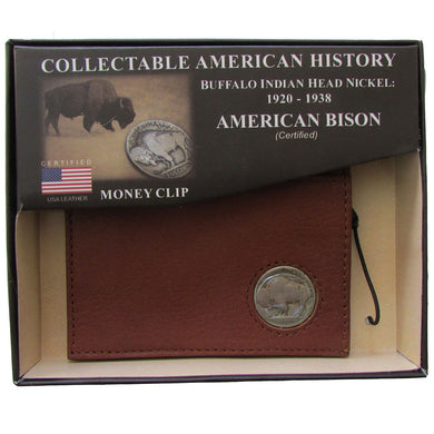 American Bison Leather, Buffalo Nickel Magnectic Money Clip Wallet, Brown, Kingport