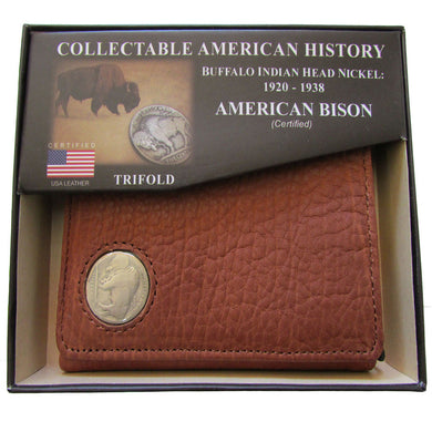 American Bison Leather Trifold Wallet, with Buffalo Nickel Insert, Brown