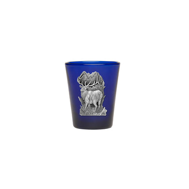 This 1.5 ounce round shot glass is highlighted with an Elk fine pewter casting. Made in USA.
