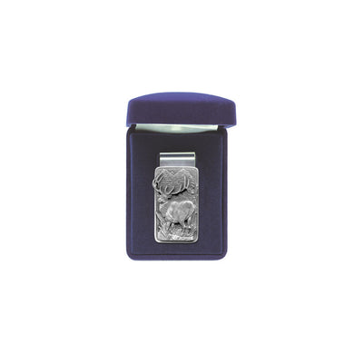 This Elk money clip is made with super spring steel. It will hold one bill or a giant stack! The best looking and functioning clip you will ever own! The fine pewter detail is intricate. Comes with a velour hinged gift box. Made in USA.
