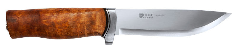 Helle GT is a knife with a substantial guard. It is a big knife, but the lack of pommel and the use of aluminum for the guard keeps the weight down.  It is an excellent choice for those who like a fairly big knife with a guard. The blade is made of triple laminated stainless steel. The knife comes with a snap type leather sheath.