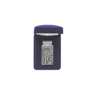 This Running Wolf money clip is made with super spring steel. It will hold one bill or a giant stack! The best looking and functioning clip you will ever own! The fine pewter detail is intricate. Comes with a velour hinged gift box. Made in USA.