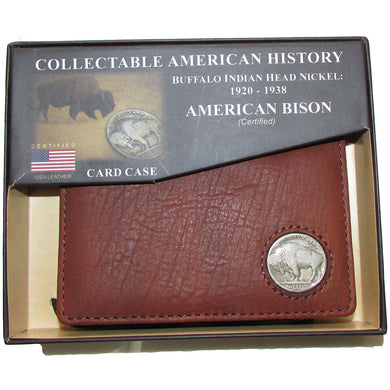 American Bison Leather Card Case Wallett Brown