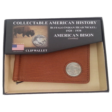 American Bison Leather Clip Wallet, with Buffalo Nickel Insert, Brown