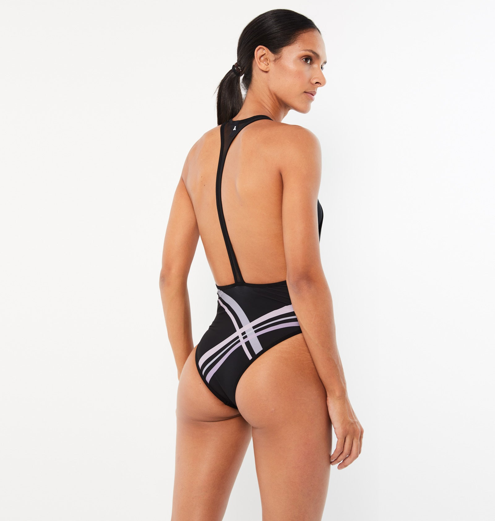 Scoop Neck Contrail One Piece Swimsuit