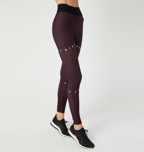 AK-19 Legging Wine/Metallic Rose