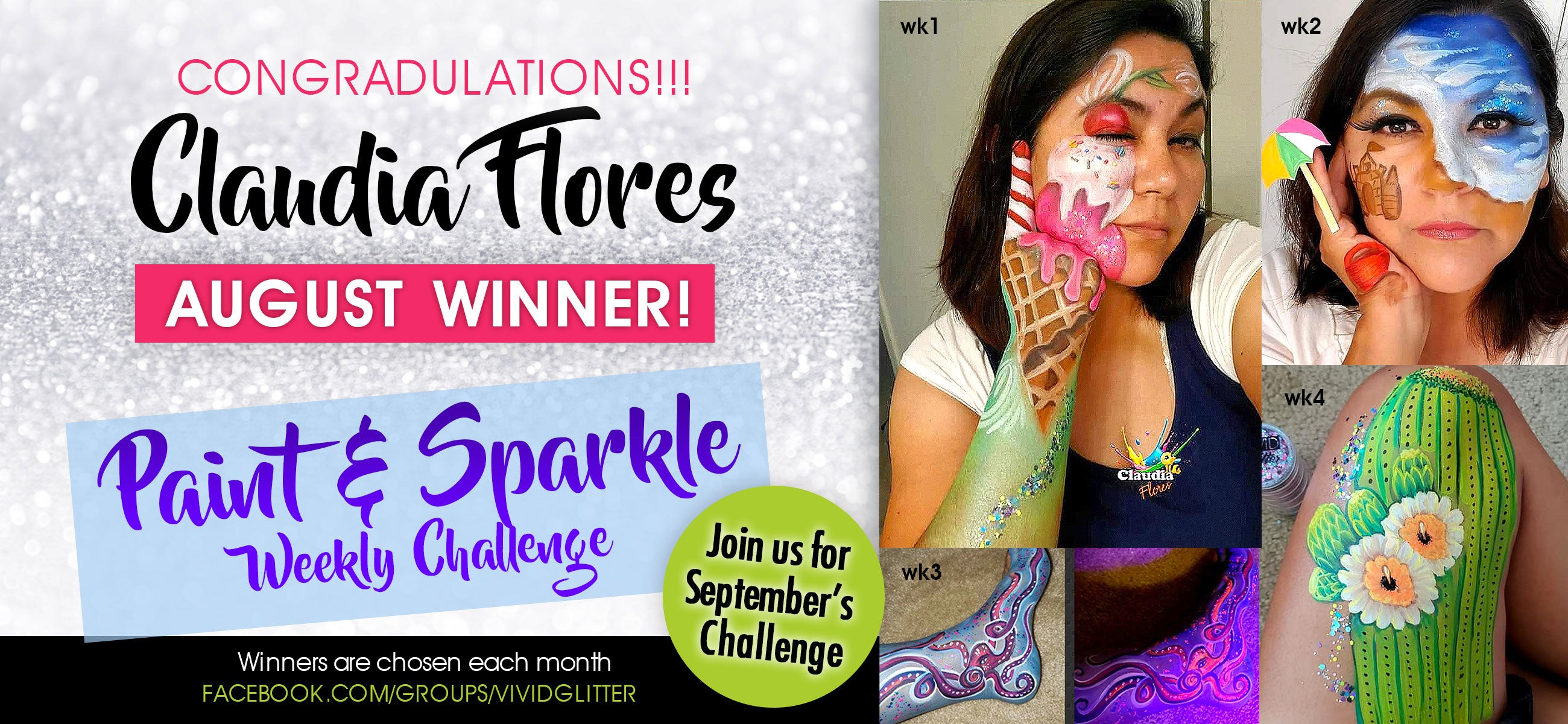 August Winner - Paint & Sparkle Challenge