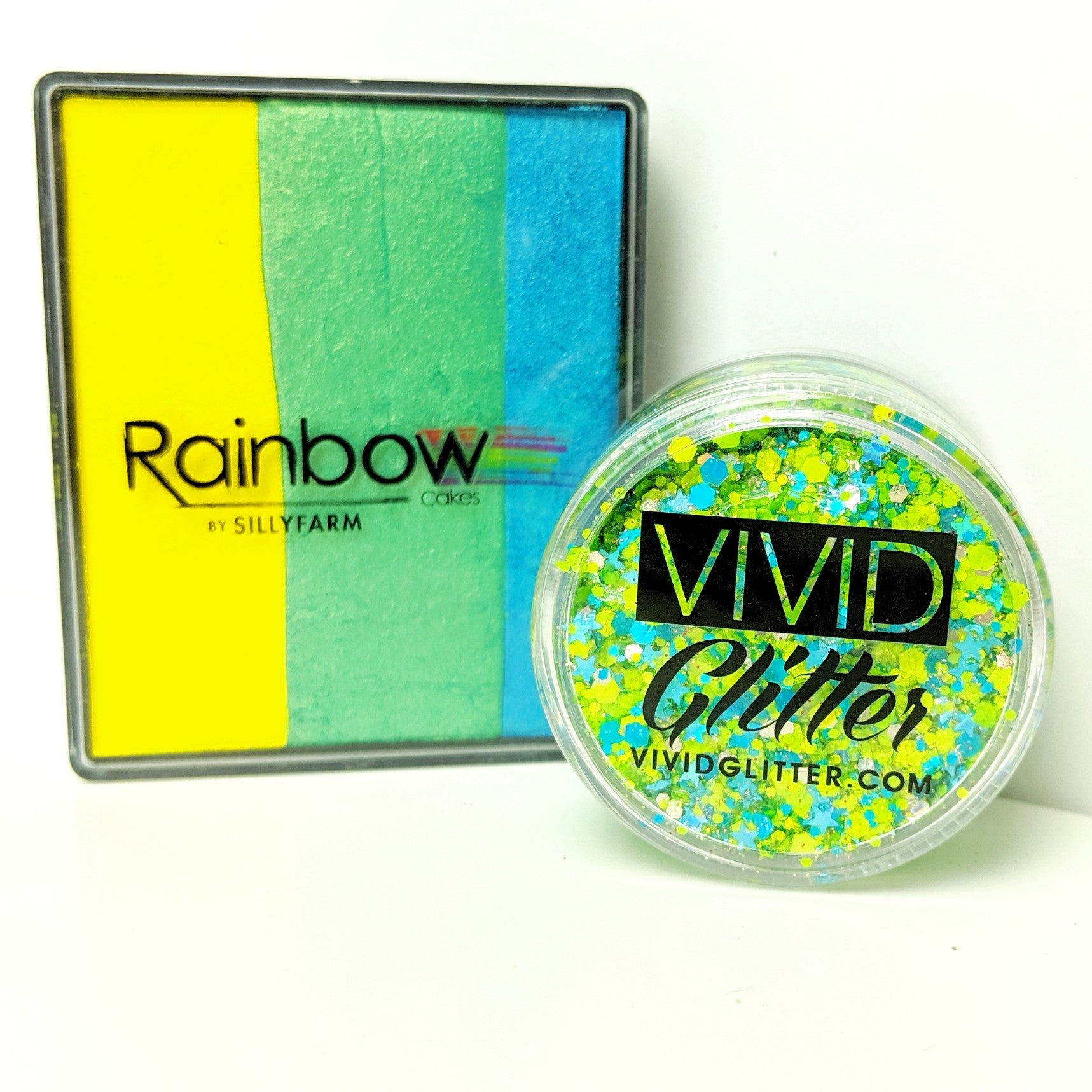 VIVID Glitter Ocean Breeze Rainbow Cake Silly Farm Mendoza match set