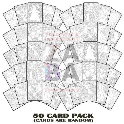 50 Pack Special - Random Color Me Pokemon Custom Coloring Cards Card