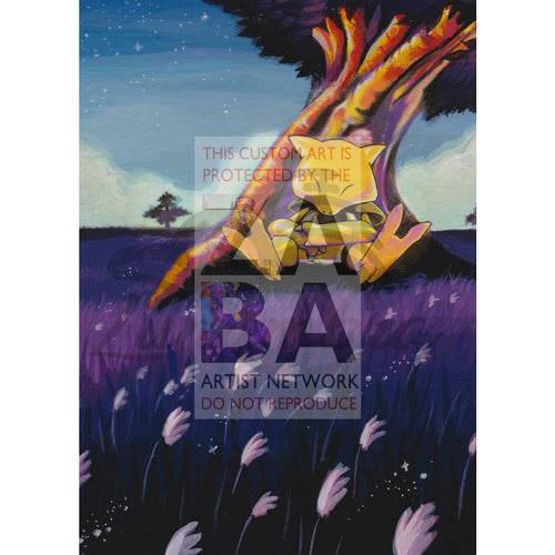 Abra 43/102 Base Set Extended Art Custom Pokemon Card Textless Silver Holographic