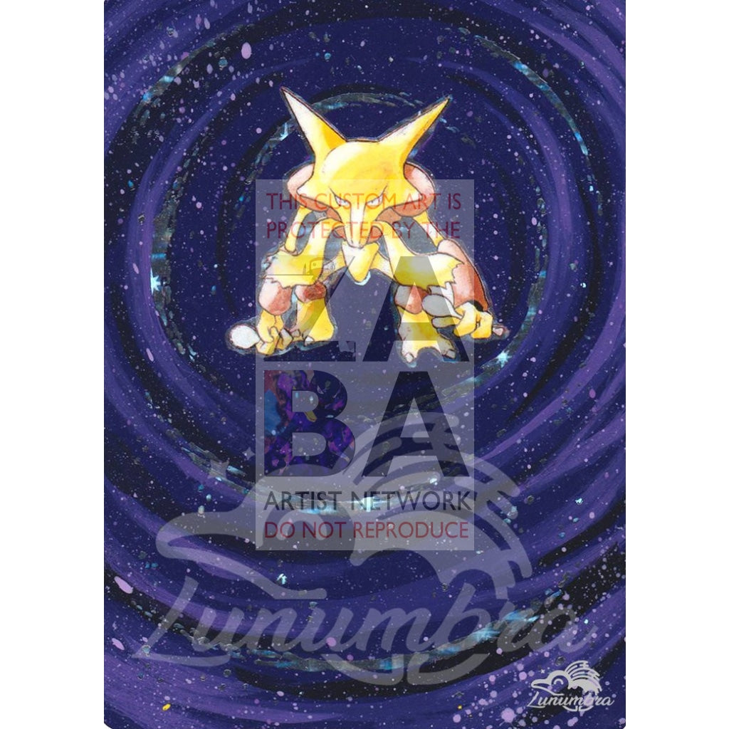 Alakazam 1/102 Base Set Extended Art Custom Pokemon Card Textless Silver Holographic