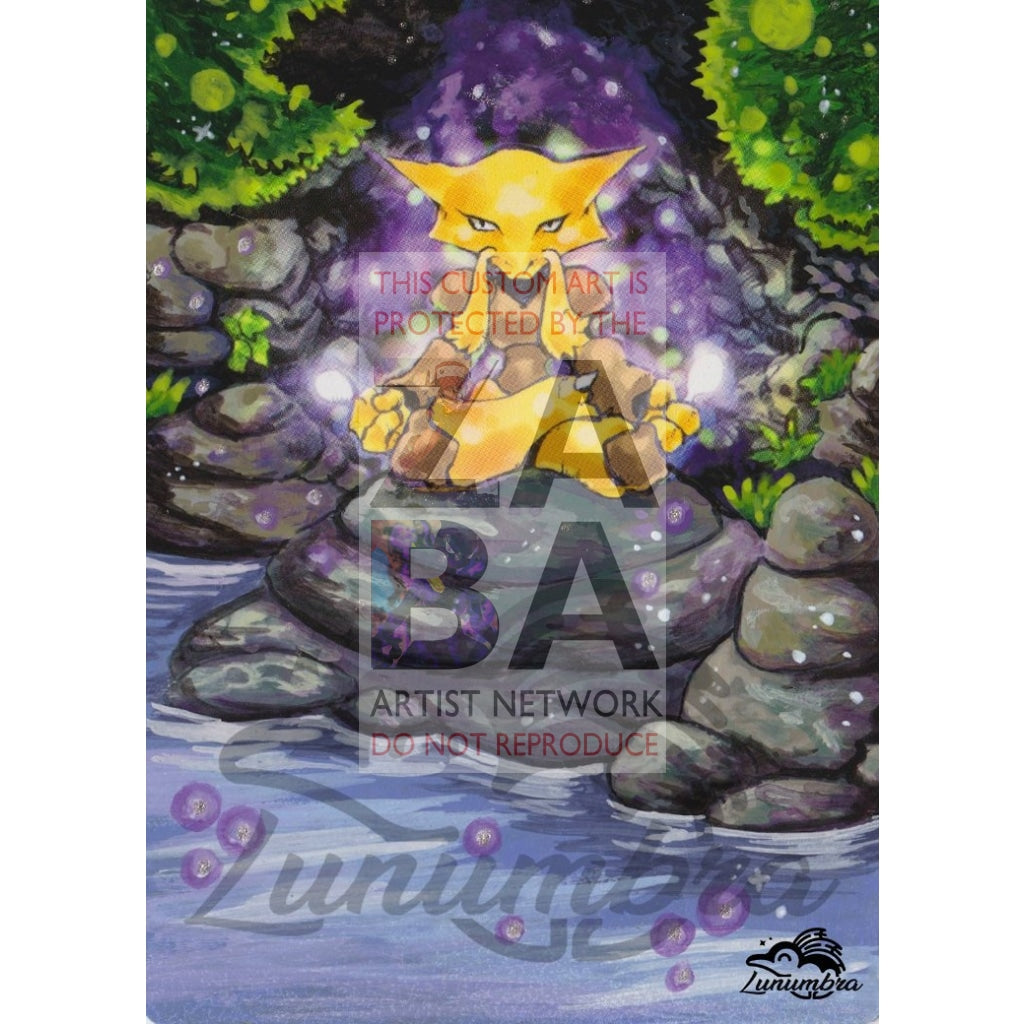 Alakazam 1/165 Expedition Extended Art Custom Pokemon Card Textless Silver Holographic