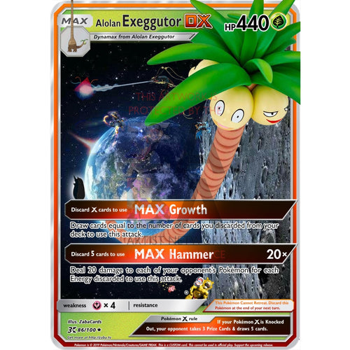 Alolan Exeggutor Dx Custom Pokemon Card