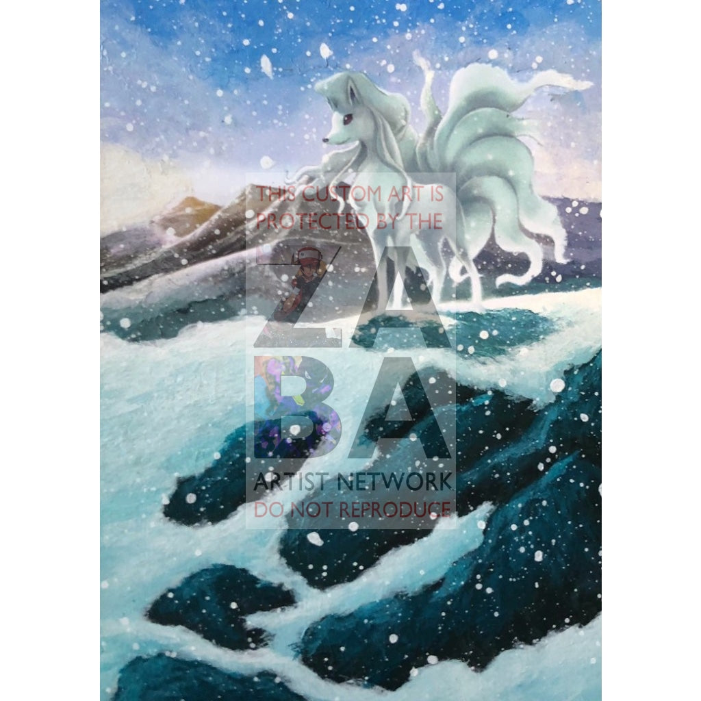 Alolan Ninetales 28/147 Burning Shadows Extended Art Custom Pokemon Card Textless Silver Holographic