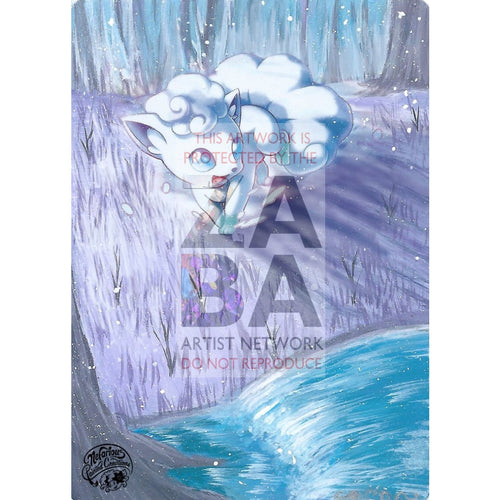 Alolan Vulpix 21A-145 Guardians Rising Extended Art Custom Pokemon Card Silver Holo