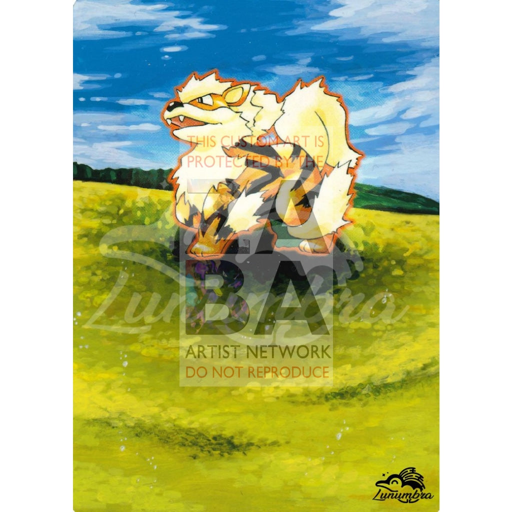 Arcanine 23/102 Base Extended Art Custom Pokemon Card Textless Silver Holographic