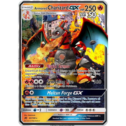 Armored Charizard Gx Custom Pokemon Card