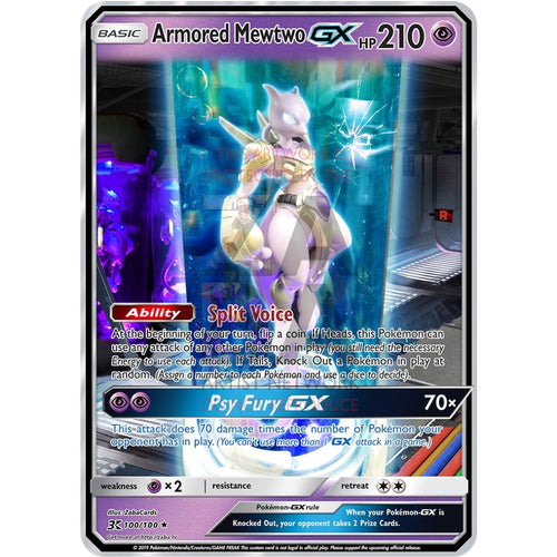 Armored Mewtwo Gx (Test Tube Mewtwo) Custom Pokemon Card