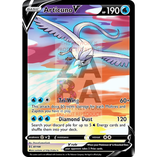 Articuno V Custom Pokemon Card Silver Foil